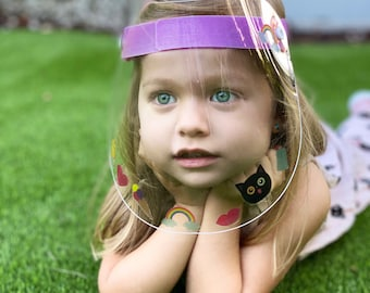 Premium quality kids face shields with removable/reusable decals to decorate. Made in the USA.