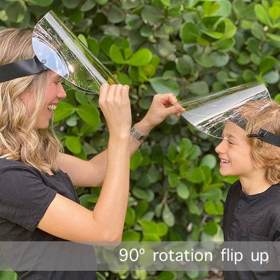 Face shields made in USA. Durable and reusable, stronger and ultra-clear visor, practical flip up & lay flat design.