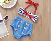 Sailor Baby Bikini (2-piece) Baby Swimsuit, Toddler swimsuit, Toddler swimwear, Swimming costume, Swimmers, Beachwear, Swim, baby shower