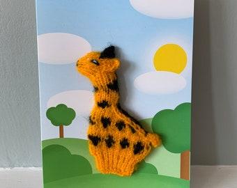 Giraffe greeting card, Giraffe Finger puppet card, Giraffe greeting card, Giraffe, Giraffe Birthday Card, Giraffe Finger puppet