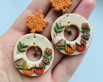 Pumpkin earrings// acorn earrings// autumn earrings// winter earrings// polymer clay earrings// flower earrings.