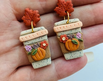 Pumpkin earrings// pumpkin spice latte earrings// Halloween earrings// autumn earrings// flower earrings// winter earrings// polymer clay ea