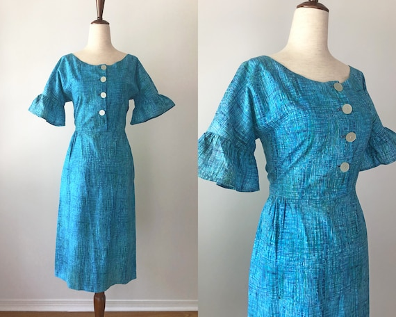 1950's Dress - Fitted Vintage 50's Dress - Teal Fi