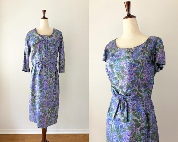 1950's Dress - Vintage 50's Dress - Purple Hydrang