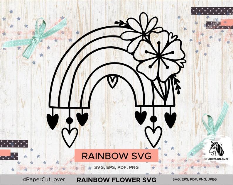 Rainbow Flower SVG Rainbow Baby Svg Digital Rainbow Stamp Scrap cut file Floral SVG Flower SVG Heart