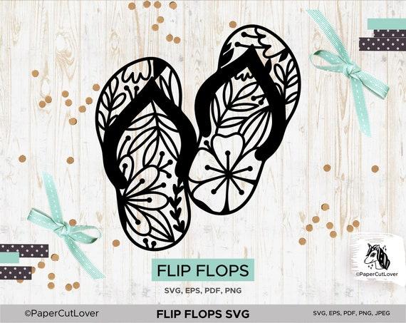 Flip Flops Svg Floral Svg Coloring Page Summer Coloring Book Etsy