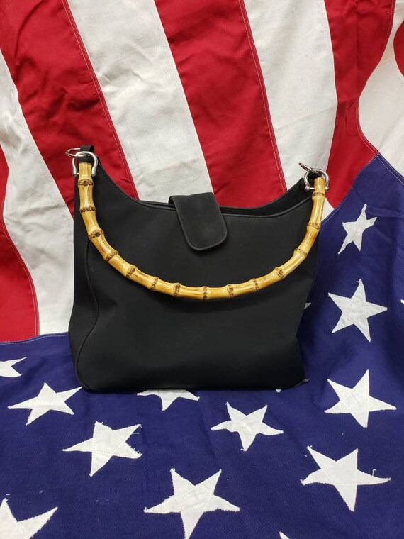 90s Black Minimalist Bamboo Handle Bag