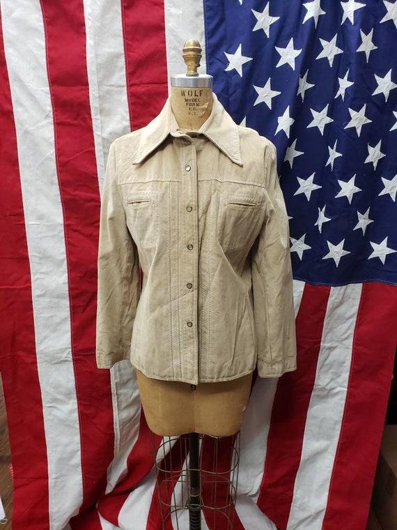 VINTAGE Suede Leather Beige White Stag Jacket