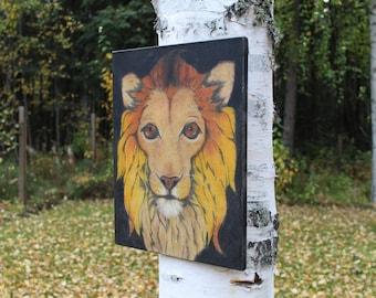 Lion painting  Lion portrait  Soft pastel painting 14x18