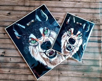 Native wolf painting  Wolf painting  Wolf