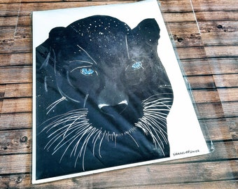 Black panther Panther on snow Black panther painting/ panther painting