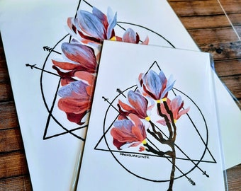 Light Pink Magnolia  symmetry and flowers  Flower painting