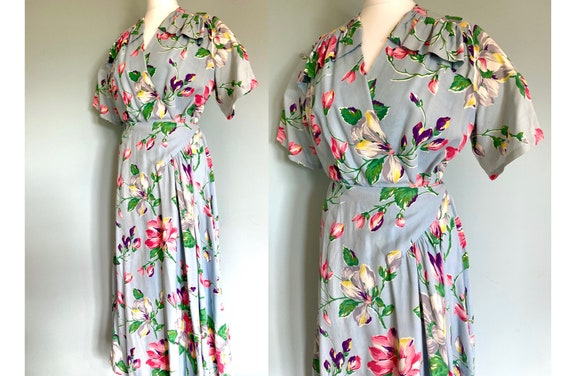 Original 1940's long floral cotton wrap dress hous