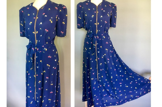 Original 1940's long floral rayon zip front dress