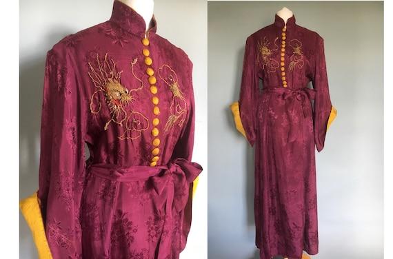 Original 1930s 1940's long oriental wrap dress gol