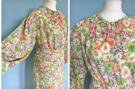 Original 1940's rayon wrap dress with bright flora