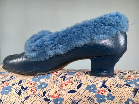 Original CC41 1940's shoes / fluffy blue slippers.