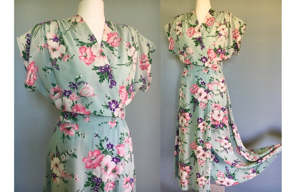 Original 1940's rayon long floral wrap dress house
