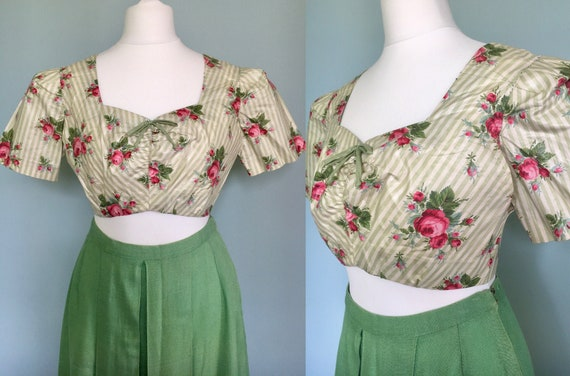 Original 1940s 1950s cotton cropped sun top stripe