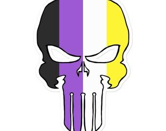 Nonbinary Pride Skull Sticker