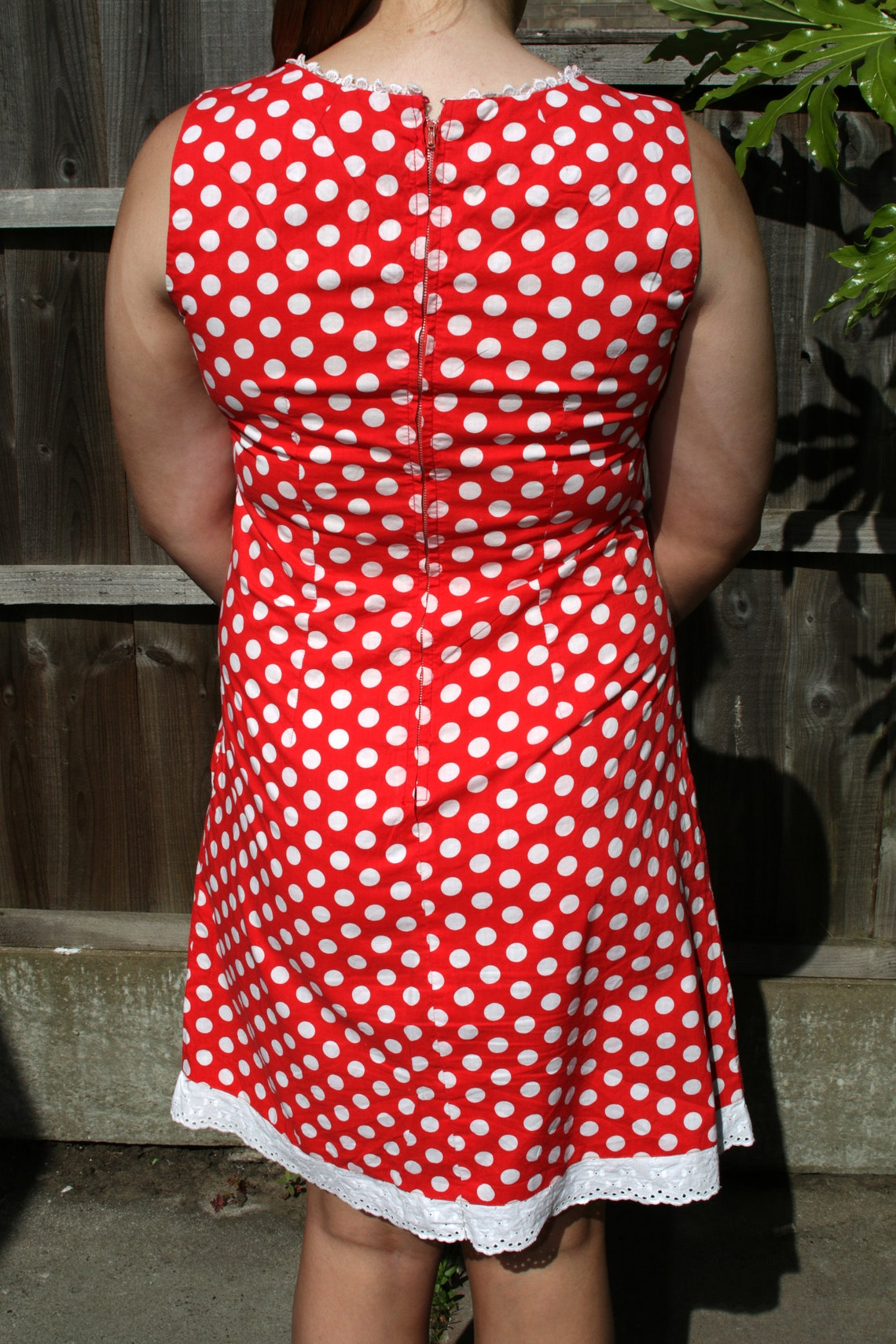 1950's red and white polka dot dress