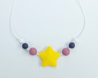 modern chewing necklace | chewelry with yellow star | silicone | kid jewelry | toddler jewelry | pretend play