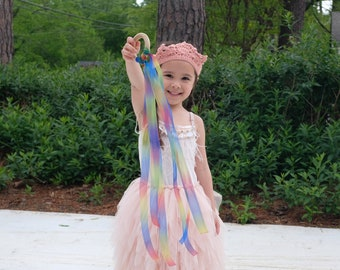hand kite with rainbow sheer ribbon  | pretend play | princess | fairy | magic toy