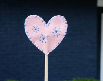 heart felt wand | pretend play | princess | fairy | magic wand | 100% wool felt | natural toy