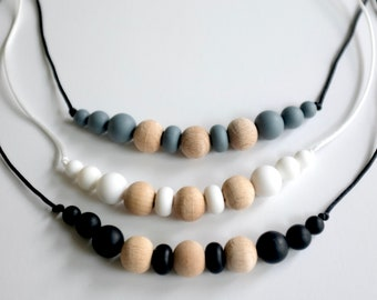 modern neutral adult necklace | modern mama | silicone necklace |  adult chew necklace | fidget jewelry