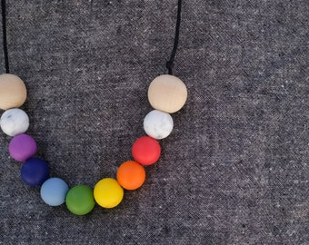 modern chewing necklace | rainbow necklace | chewelry | teething necklace | adult chewelry | fidget