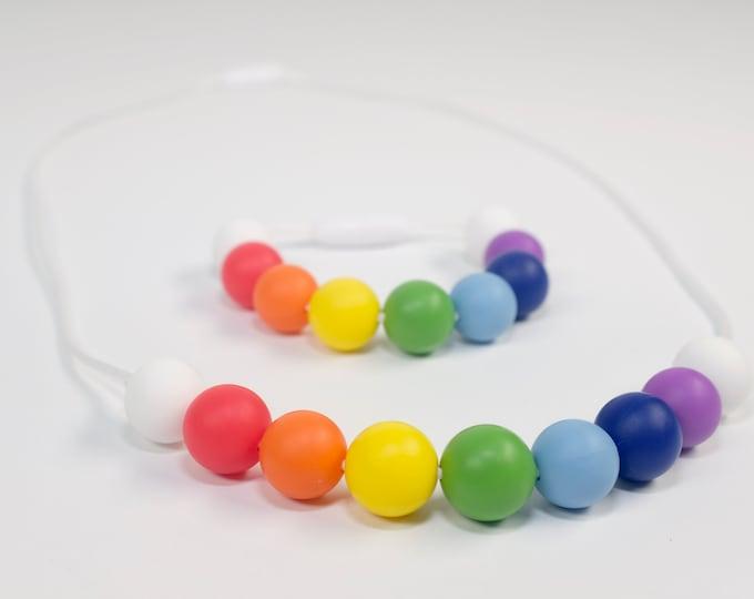 modern rainbow necklace + bracelet  | kid jewelry |chewelry | teething necklace | sensory necklace | pretend play | toddler jewelry