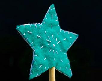 star felt wand   handmade   pretend play   princess   fairy   magic wand   100% wool wand   natural toy   heirloom