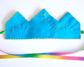 felt crown   reversible crown 100 percent wool felt with ribbon tie   birthday crown   magic   pretend play