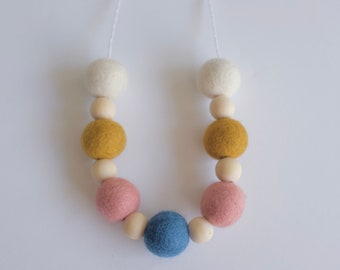 modern felt and wood on cotton cord with breakaway clasp | pull necklace | modern mama | eclectic jewelry