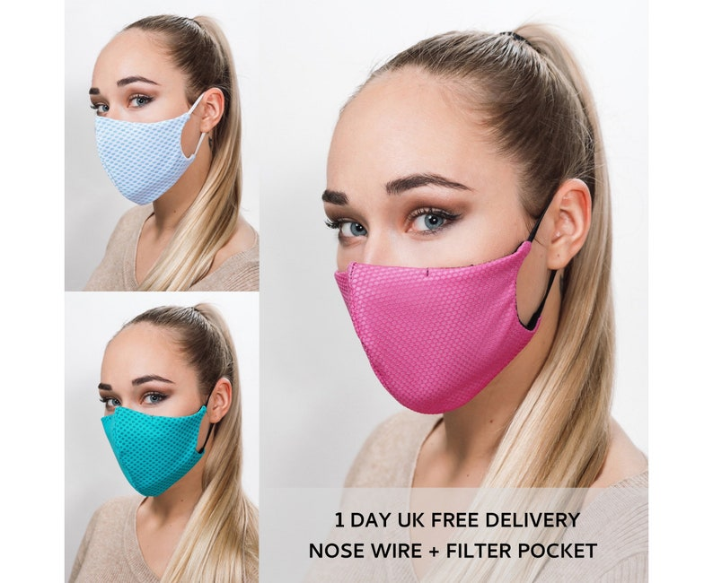 Face Mask Washable with Filter Pocket & Nose Wire Triple image 0