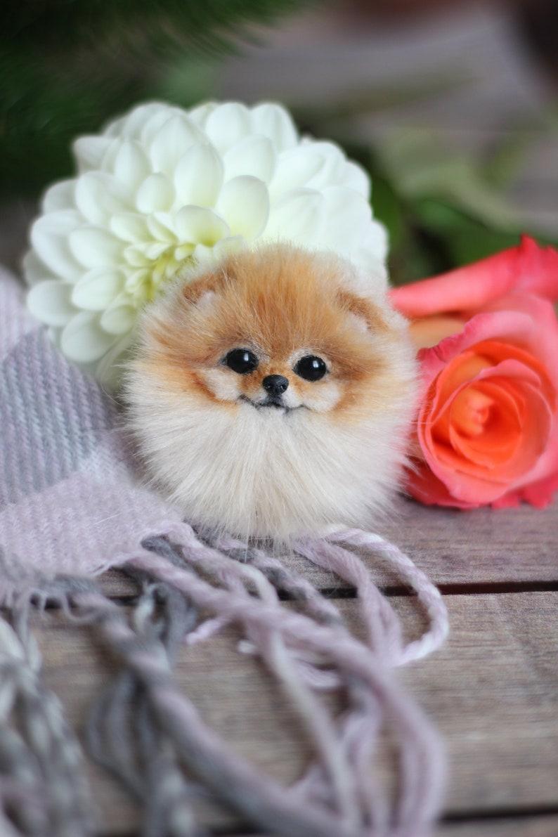 Realistic brooch portrait of Pomeranian spitz by photo