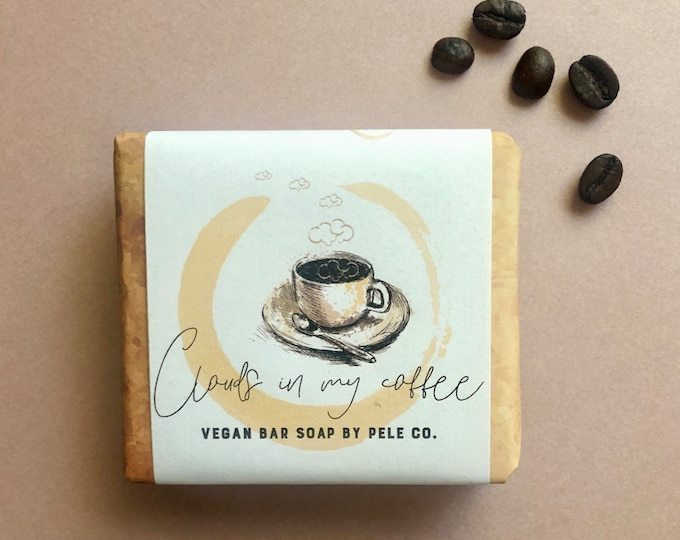 Featured listing image: Exfoliating Coffee Body Bar, Clouds in My Coffee. Vegan-friendly.
