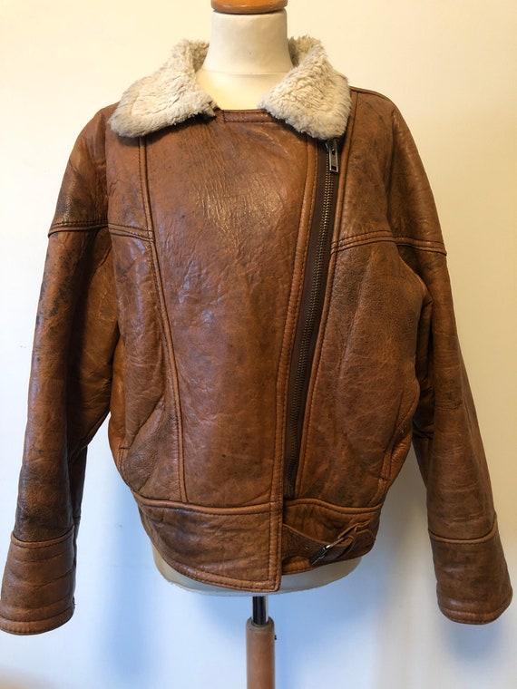 1980's Brown sheepskin cropped jacket.