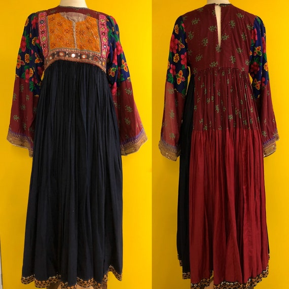 1970's Indian peasant dress with hand embroidery,