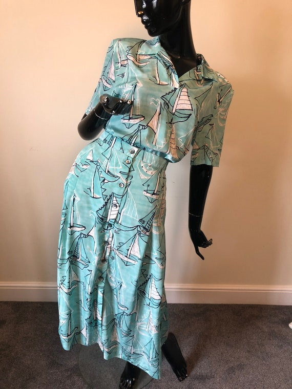 1980's Jacques Vert boat print blouse and matching