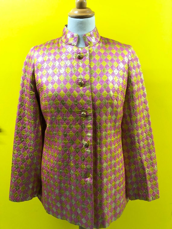 1960's Harlequin pattern Pink & Gold Lurex Jacket