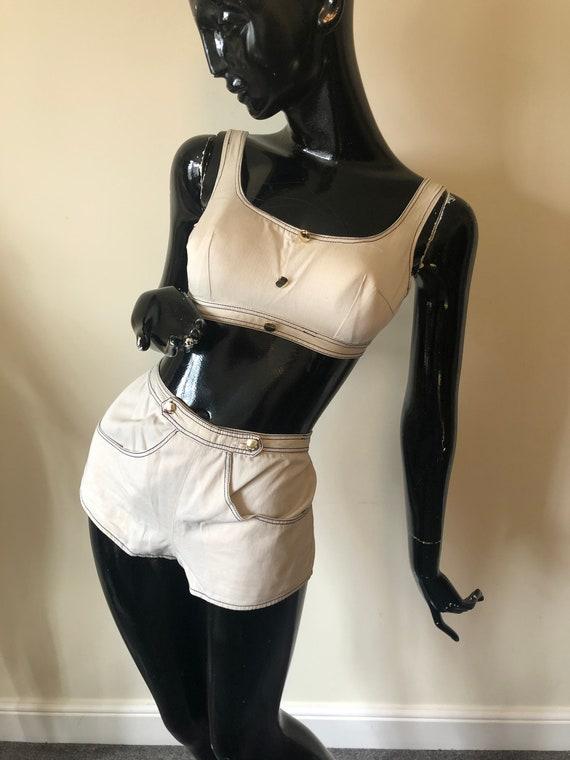 1960's Bikini top & short set with top stitch