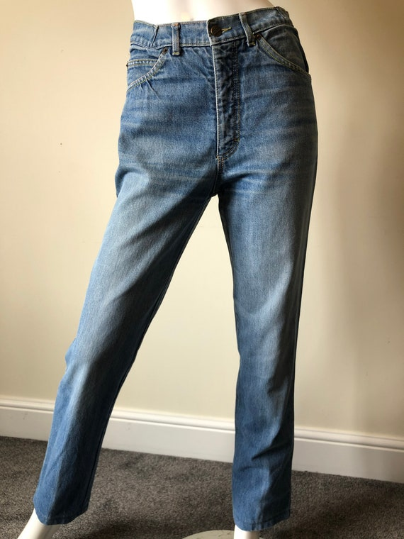 1980's straight leg faded blue denim jeans