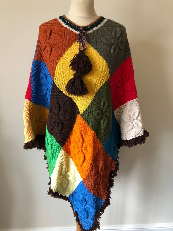 1970's Hand knitted patch work poncho with toggles