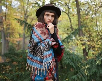 Wool scarf. Stole. Rug. Bohemian scarf. Ethnic blanket. Colorful wool blanket