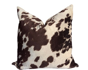 Pillow Cover Pick Your Pillow Size Faux Cowhide Brown Cow Suede Fabric SAME FABRIC both sides