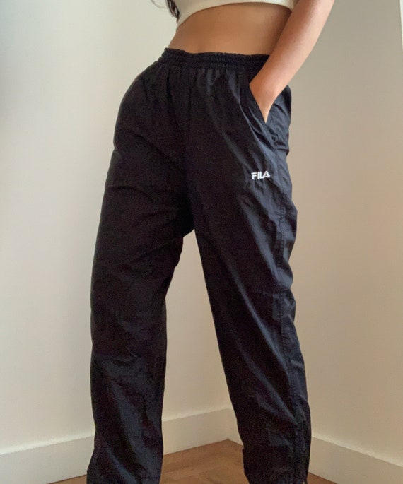 Vintage 90's Black FILA Nylon Trackpants