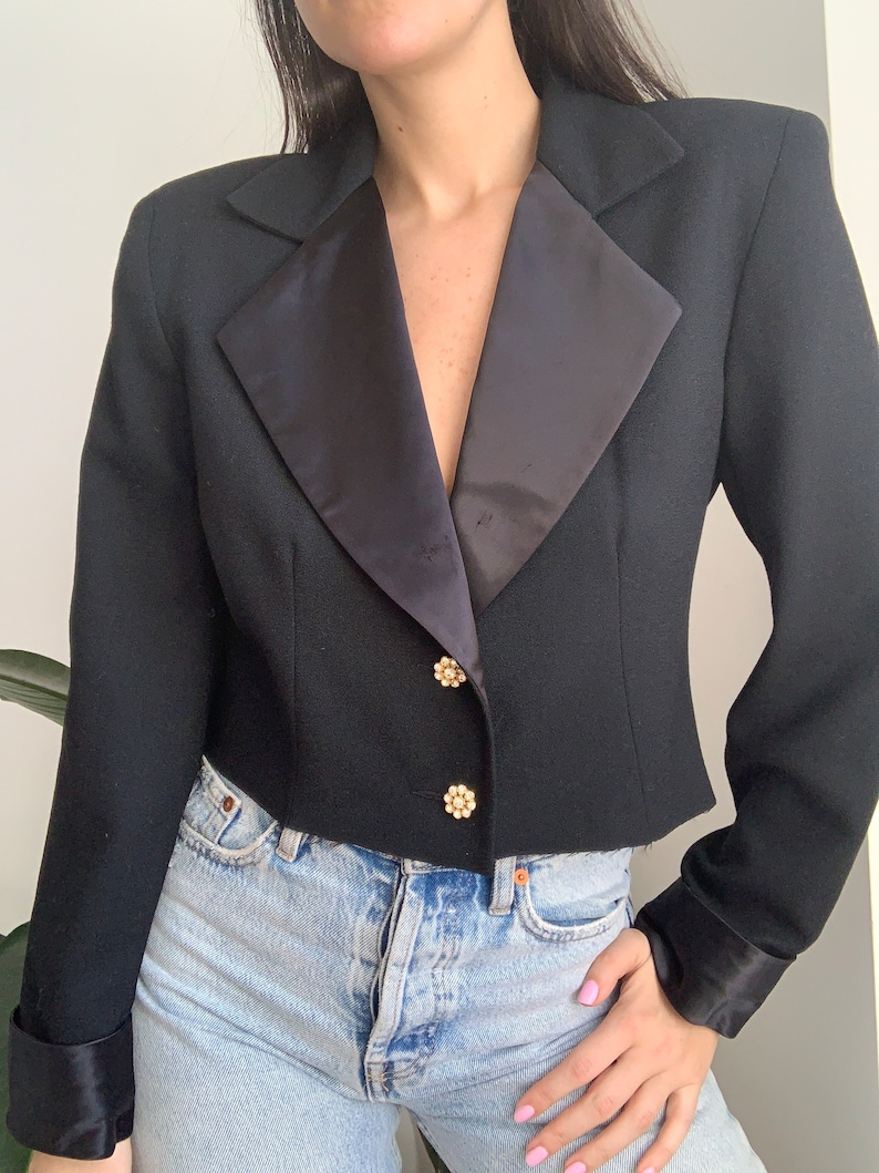 Vintage 80/'s 100/% Wool Black Re-Worked Cropped Oversized Blazer with Rhinestone Buttons