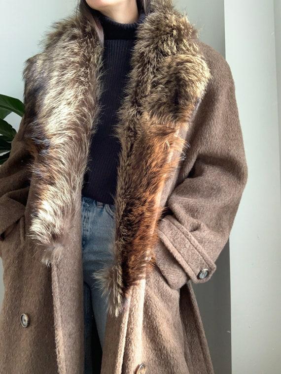 Vintage 70's Calvin Klein Cashmere Wool Brown Fur