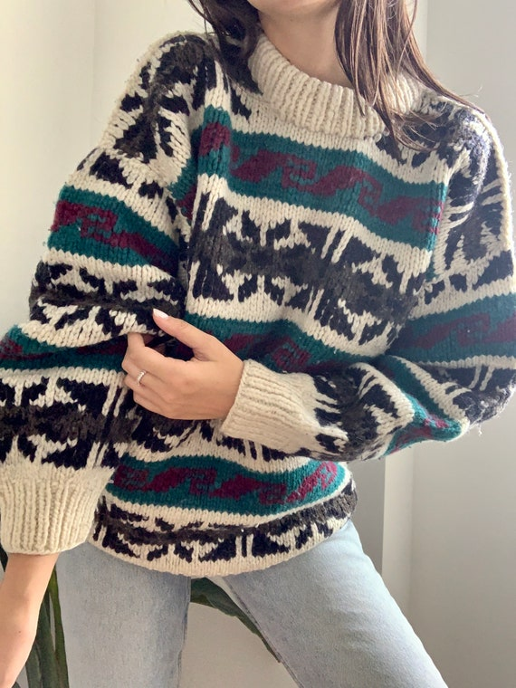 Vintage Ski Sweater Wool Abstract Print